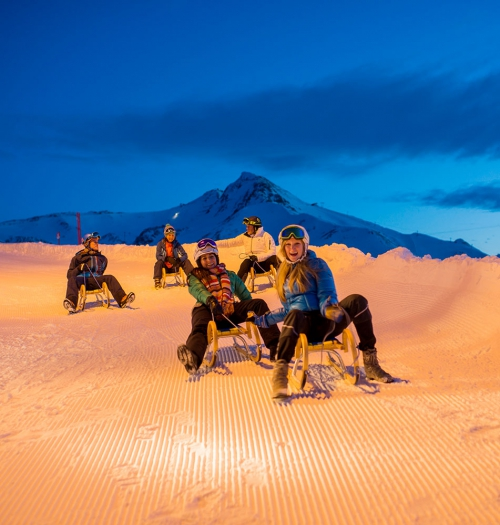 Night-time tobogganing in Ischgl